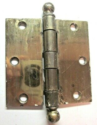 "McKinney 3-1/2"" Square Mortise Door Hinge Ball Tip Finials Shiny Brass Antique 1"