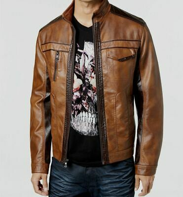 $229 I.N.C. International Concepts Mens Brown Leather Full Zip Up Jacket Sz S