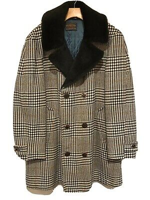 Vtg Sir Pendleton Wool Plaid Houndstooth Sherpa Collar Mens Sz XL Coat Jacket