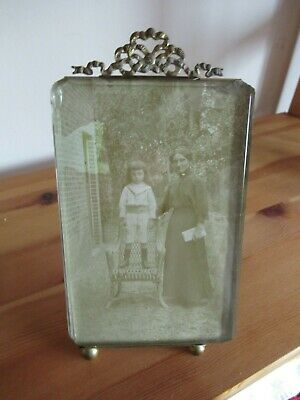 Large 1920's French Bevelled Glass Ormolu Easel Back Photo Frame