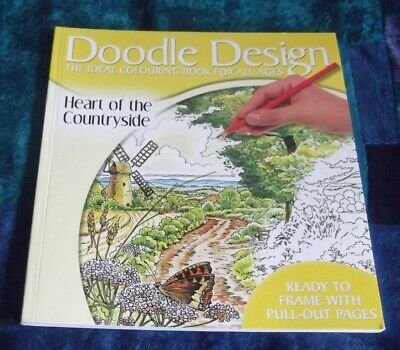 DOODLE COUNTRYSIDE DESIGN BOOK, 48 p,COLOURING BOOK for ADULTS, CHILD, NEW, AUST