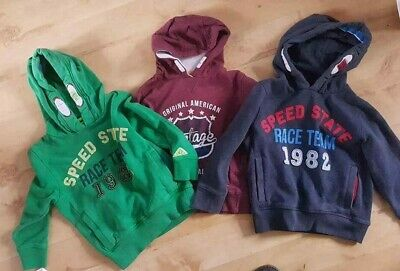 boys PULL-ON HOODIE TOPS *GREEN *BLUE *BURGUNDY* NEXT*HEATONS*Age 4-5