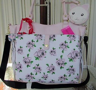 Betsey Johnson Roll Out Diaper Bag Floral Roses Pink Blush Tote Weekender NWT