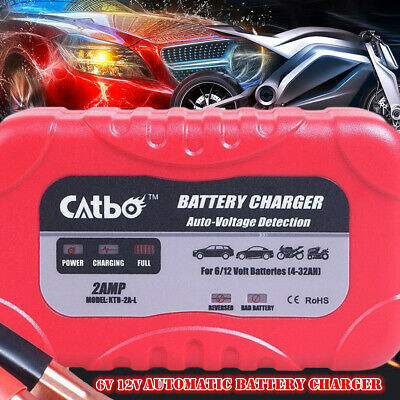 Car Battery Charger 2 Amp 6V 12V Automatic Intelligent Trickle Fast Vehicle Van
