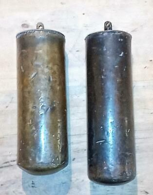 A GOOD PAIR OF ANTIQUE EARLY 1700,s BRASS CASED LEAD LONGCASE CLOCK WEIGHTS
