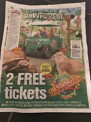 2No Chessington World Of Adventures booking form and 10tokens..worth Over £100