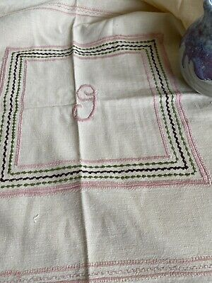 Vintage Handmade Embroidered Cotton Tablecloth Monogram G 🧵