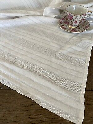 Vintage Mid Century White Cotton Striped  Waffle Weave Tablecloth 🕯