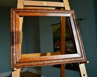 "Superb Antique Edwardian Carved Oak Picture Frame 19""X14.5"" Rebate Arts & Crafts"