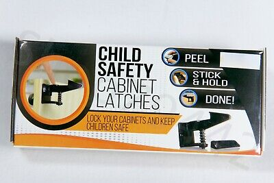 CHILD SAFETY Cabinet Latches Drawer Lock Self Adhesive Box of 8 Baby NEW Black