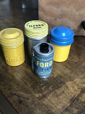 Old Vintage Kodak Ilford  FP3 35mm Camera Film Canister Tins Used Photography