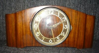 Vintage Art Deco Wooden Mantle Clock Spares or Repairs