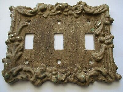True Vintage Antique Salvage Victorian Metal Triple 3 Switch Plate Cover Reclaim