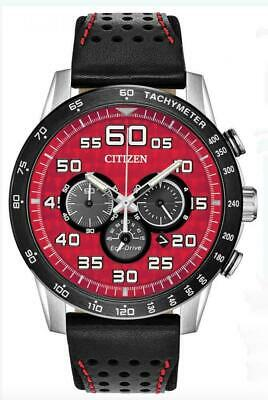 Citizen Men's Eco-Drive Primo Red Dial Leather Strap Watch CA4430-01X
