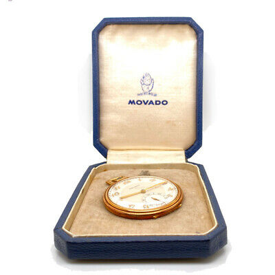 Vintage Movado Solid 18K Yellow Gold Manual Wind Pocket Watch W/ Original Box