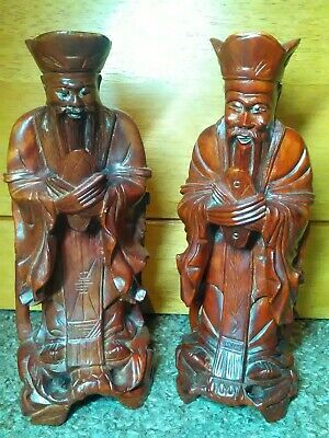 Pair Antique Chinese Hand Carved Wooden Wise Men Scholars Statue Figure Ornament