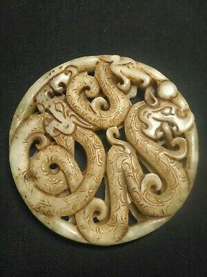 Collectable Chinese Jade Stone Hand Carved Dragon Serpent Pendant Netsuke Amulet