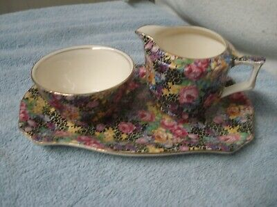 "Vintage Chintz CREAM & OPEN SUGAR WITH TRAY ""HAZEL"" ROYAL WINTON  England"