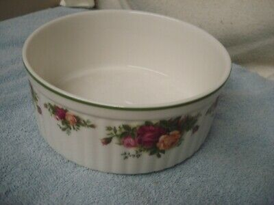 """3x7"""" SOUFFLE DISH COUNTRY BAKEWARE Old Country Roses Baking Royal Albert England"""
