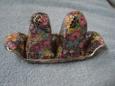 "Vintage Chintz SALT & PEPPER SHAKERS ON TRAY ""HAZEL"" ROYAL WINTON  England"