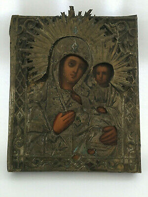 Antique Hand painted Icon Virgin of the Smolensk 19 th. century