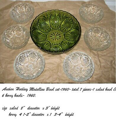 anchor hocking -oatmeal/prescut salad bowl   set