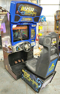 """RUSH 2049 Full Size Arcade Sit Down Driving Game! Works Great! 24"""" LCD Upgrade!"""