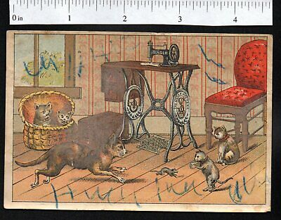 Cat Kittens Mouse Singer Sewing Machine 1880'S Victorian Advertising Trade Card