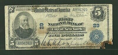 Series 1902 First National Bank of City of New York 5 Dollar Currency Note FR598