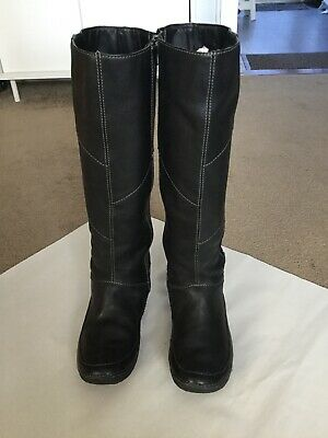 Hush Puppies EMILIA Ladies Womens Leather Brogue Knee High Side Zip Riding Boots