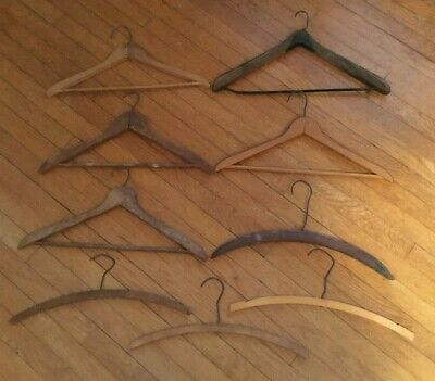 * Group 9 Antique Wooden Clothes Hangers 1 Advertising Huntingburg Indiana