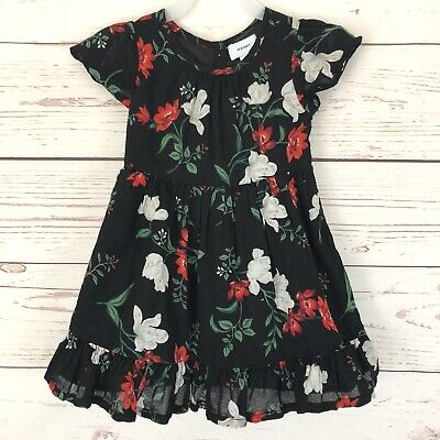 Old Navy Toddler Girl's Dress 3T Black Red White Green Floral Mexican Style
