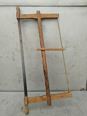 Painted Wood Saw Bow Carpenters Hand Rustic Tool Antique Primitive