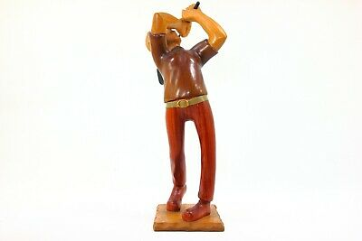 """Romer Hand Carved Wood """"Golf Player"""" Figurine Italy 12"""" Tall"""