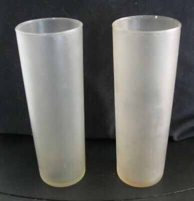 VTG Pair Tall Slender Straight-Sided Ice Tea/Highball FROSTED Beverage Glasses