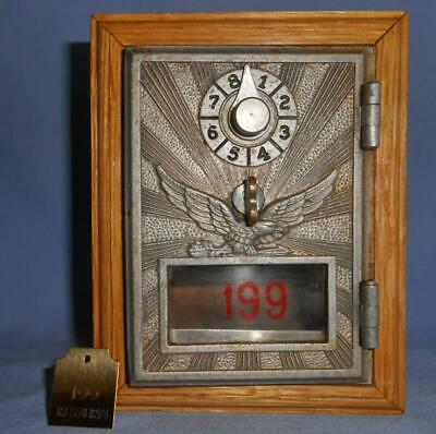 Working Antique 1912 Flying Eagle Post Office Keyless Combination Lock Box Bank