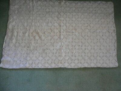 "White cotton hand-crocheted tablecloth, 54"" x 40"""