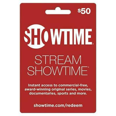Showtime $50 Streaming Gift Card ☆ Brand New ☆ Activated ☆ Physical Card Mailed