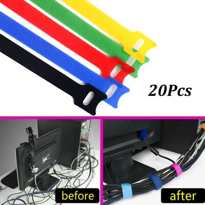 20pcs Reusable Nylon Cable Tie Earphone Mouse Cord Power Wire Organizer Strap~