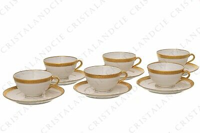 Six tasses à café incrustations or par Chastanier. Six coffee cups gold inlays