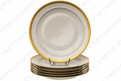Six assiettes plates incrustations or par Chastanier. Six dinner plates gold
