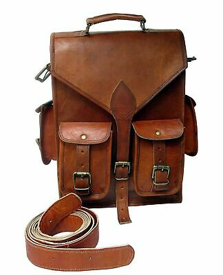 Men's Real Goat Leather Backpack Laptop Large Hiking Travel Camping Bag New