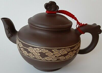 Fine Chinese Yixing Ornate Teapot With Cloud Symbol Relief Decoration