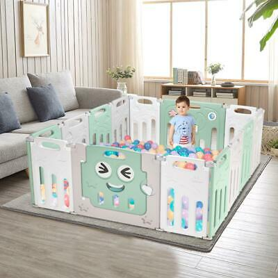 ABST Baby Playpen Plastic Foldable Kids Safety Play Yard 14 Panel with Door