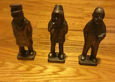 "Set Of 3 Vintage Cast Brass FISHERMEN SHIPS CAPTAINS Figurines 5.25"" Tall"