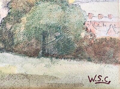 Winston Churchill Painting Hand Signed Vintage Art Watercolor Original Paper