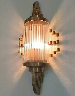 Old Antique Vintage Art Deco Brass & Glass Rod Ship Light Wall Sconces Lamp