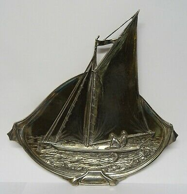 Arts and Crafts WMF Style Metal Sailing Boat Dish Impressed Mark 264K.
