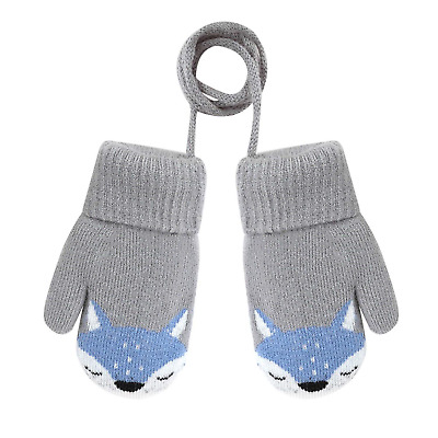 Afinder Toddlers Cartoon Fox Short Knitted Mittens Baby Girl Boys Winter Thick