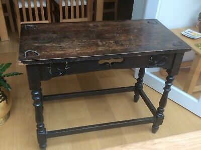 Victorian Dark Oak Carved Console Table